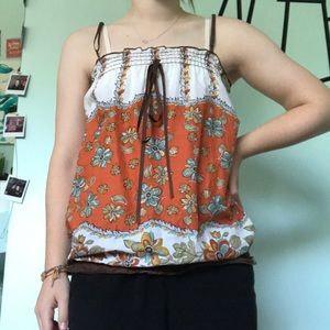 Tops - 3/$20 Bohemian early 2000's floral tank top